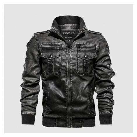 Pánská podzimní bunda kožená moto styl bunda s kapsami