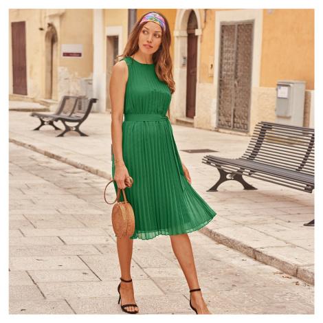 Blancheporte Plisované šaty bez rukávů zelená
