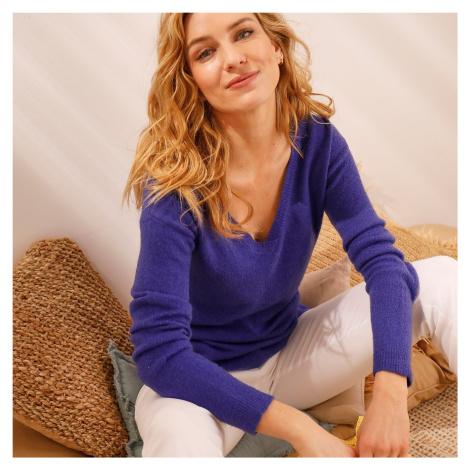 """Blancheporte Žerzejový pulovr s výstřihem do """"V"""" fialová"""