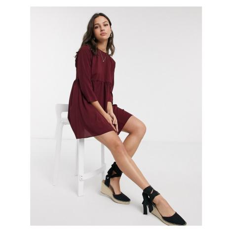 ASOS DESIGN long sleeve smock mini dress in winter wine-Red
