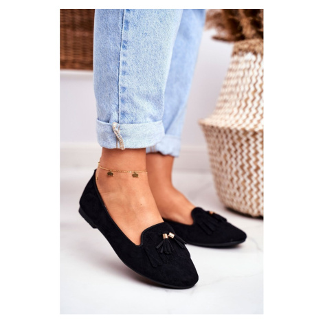 Women's Loafers Black Lords Fringe Blue Therese Kesi