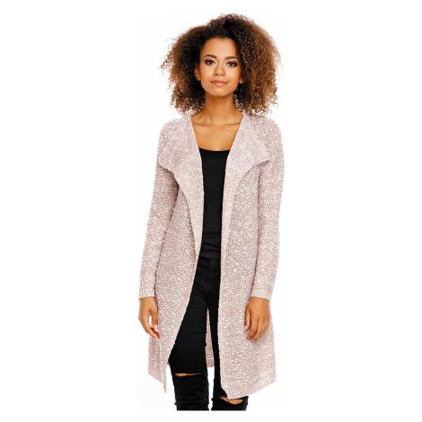 Pletený dlouhý kardigan kabátek bez zapínání s límcem a kulíčky