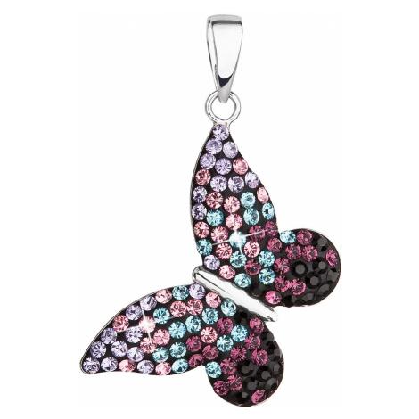 Stříbrný přívěsek s krystaly Swarovski mix barev motýl 34192.3 magic violet Victum