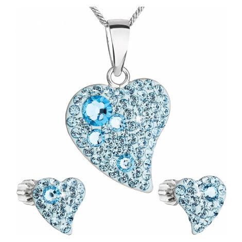 Sada šperků s krystaly Swarovski náušnice,řetízek a přívěsek modré srdce 39170.3 Victum