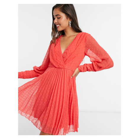 ASOS DESIGN pleated wrap mini dress in dobby spot with pin tuck sleeves in red