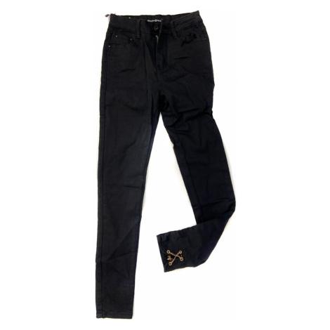 Černé džínové kalhoty typu high waist s řetízky na nohavicích 1300 - Zoio