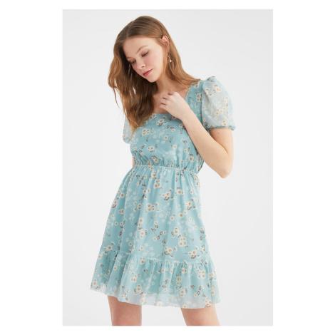 Trendyol Blue Square Neck Tulle Knitted Dress