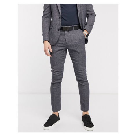New Look textured suit trouser in grey