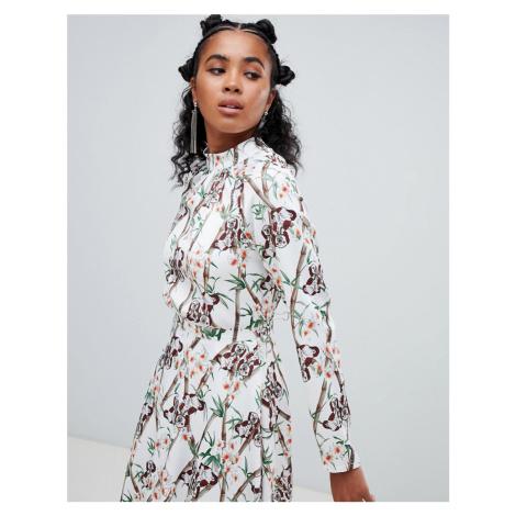 Ragyard blouse in bamboo and dog print-White