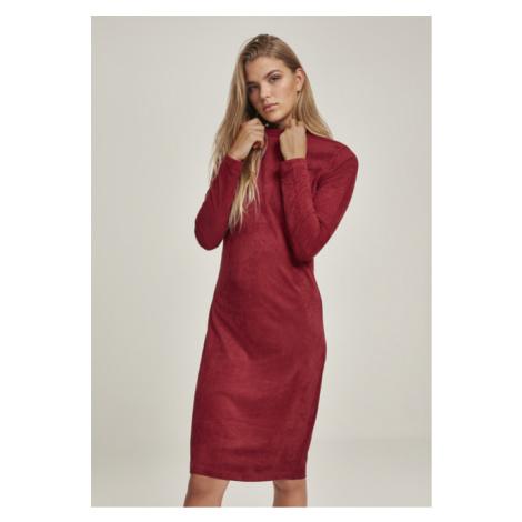 Urban Classics Ladies Peached Rib Dress LS burgundy