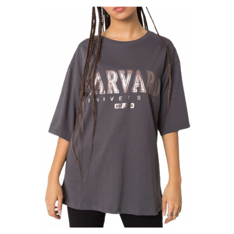 Tmavě šedé dámské tričko s nápisem Rue Paris