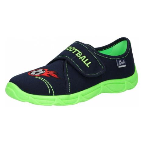 BECK Pantofle 'Football' tmavě modrá / světle zelená / bílá / červená / černá