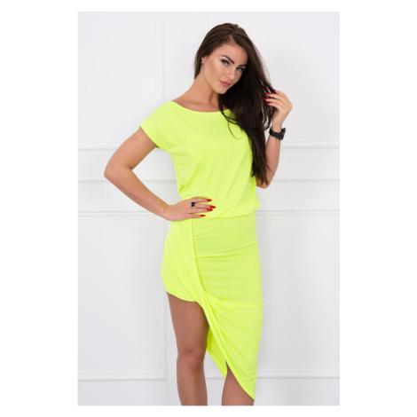 Asymmetric dress yellow neon Kesi
