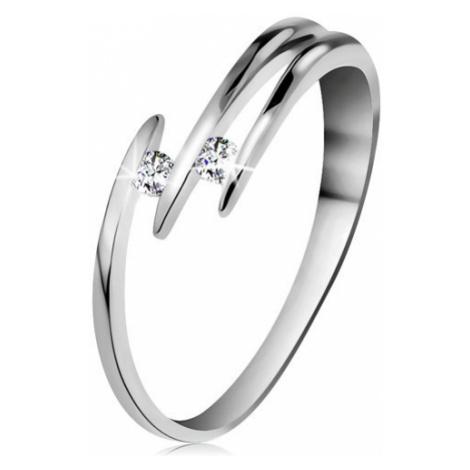 Briliantový prsten z bílého 14K zlata - dva blýskavé čiré diamanty, tenké linie ramen Šperky eshop