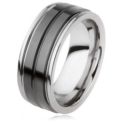 Wolframový prsten s lesklým černým povrchem a zářezem, stříbrná barva Šperky eshop