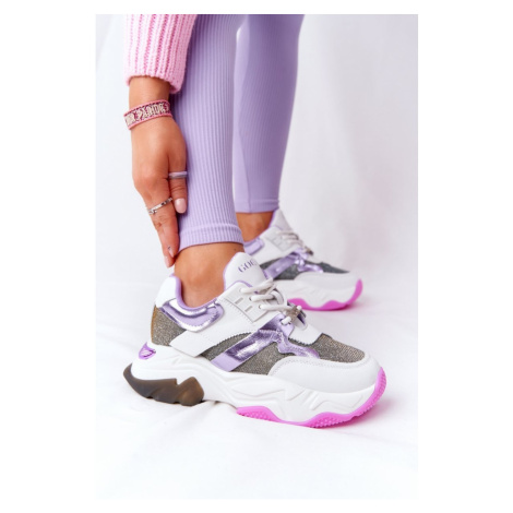 Sport Shoes On A Chunky Sole GOE HH2N4038 White-Violet Kesi