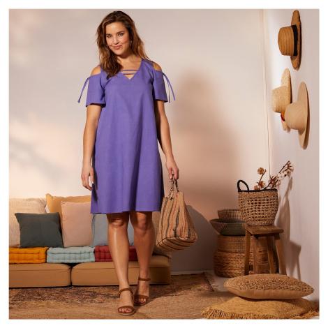 Blancheporte Šaty ze směsi bavlna-len levandulová