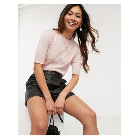 Oasis short sleeve jumper in light pink