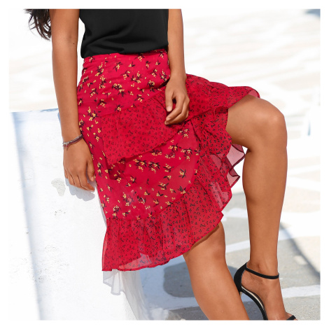 Blancheporte Volánová asymetrická sukně červená/černá