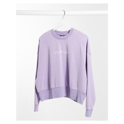 Bershka Los Angeles Lovers motif sweat top in lilac-Purple