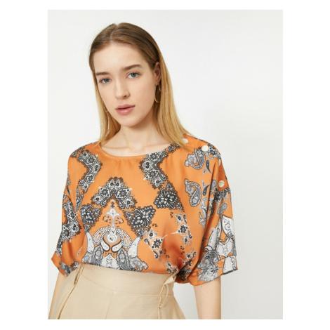 Koton Women's Orange Patterned Blouse