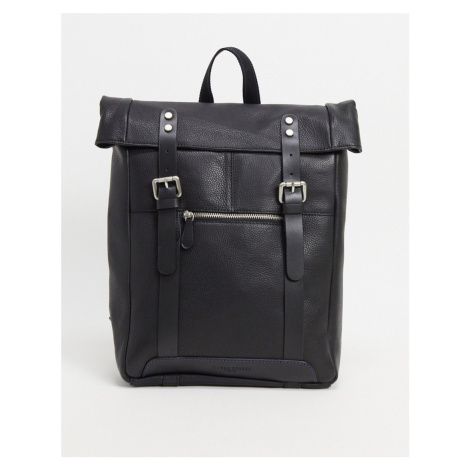 Silver Street leather bag with buckles-Black