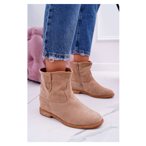 Women's Boots On Wedge Beige Evana Kesi