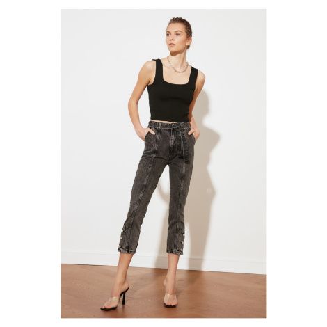 Trendyol Anthracite Belted Leg Detail High Waist Mom Jeans