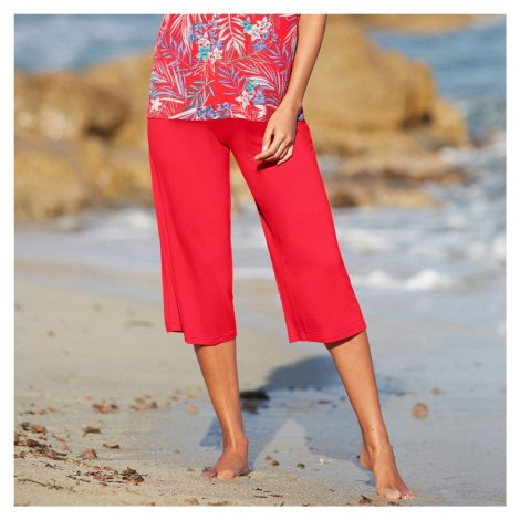 Blancheporte 3/4 široké jednobarevné kalhoty červená