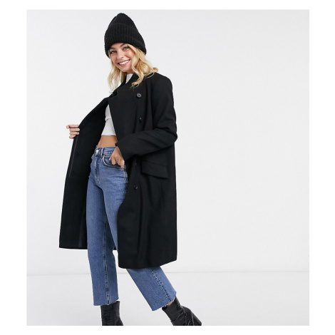ASOS DESIGN Petite wrap front midi coat in black