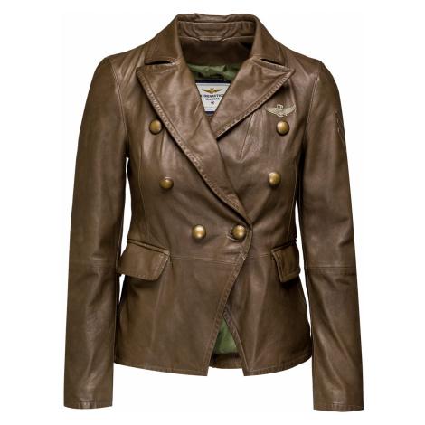 Kožená bunda AERONAUTICA MILITARE hnědá|zelená
