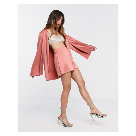 ASOS DESIGN soft satin 3 piece suit shorts-Pink