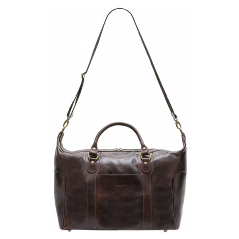 Kožená cestovní taška - tmavě hnědá Glamorous