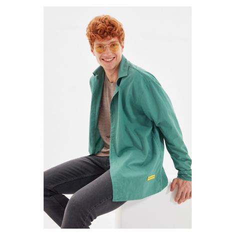 Trendyol Green Mens Oversize Shirt Collar Long Sleeve Shirt