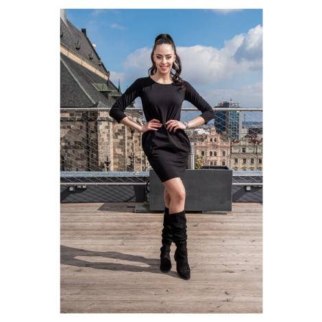 Černé šaty s dlouhým rukávem Sintimo