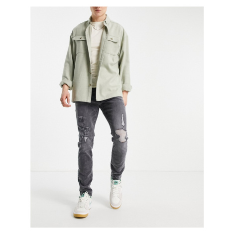 Abercrombie & Fitch super skinny distressed jeans in grey wash