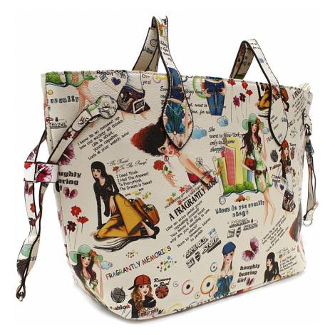 Béžová dámská kabelka přes rameno s motivem Lucette Tapple
