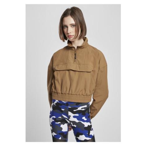 Ladies Cropped Crinkle Nylon Pull Over Jacket - midground Urban Classics