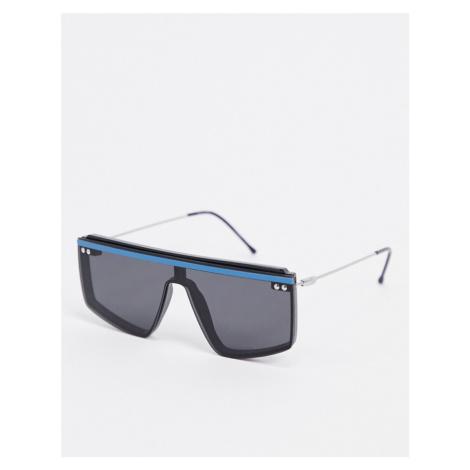 Spitfire HCD visor sunglasses in black with blue brow trim