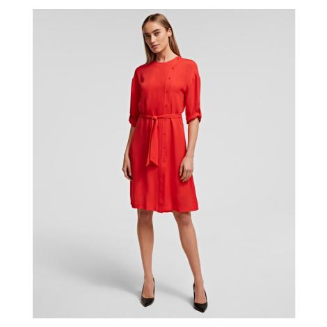 Šaty Karl Lagerfeld Silk Dress W/ Detachable Tie - Oranžová
