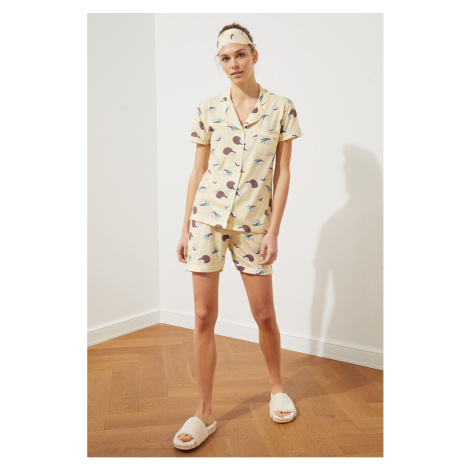 Trendyol Yellow Printed Knitted Pyjama Set