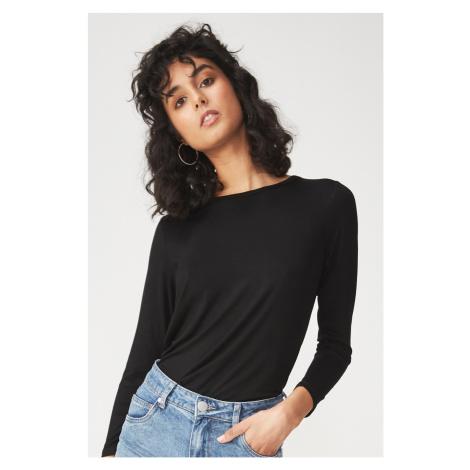 Dámské basic triko s dlouhým rukávem Kathleen černá