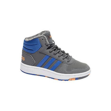 Šedo-modré kotníkové tenisky Adidas Hoops Mid 2.0