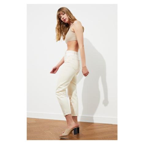 Trendyol High Waist Mom Jeans WITH Ecru Waist Color Block