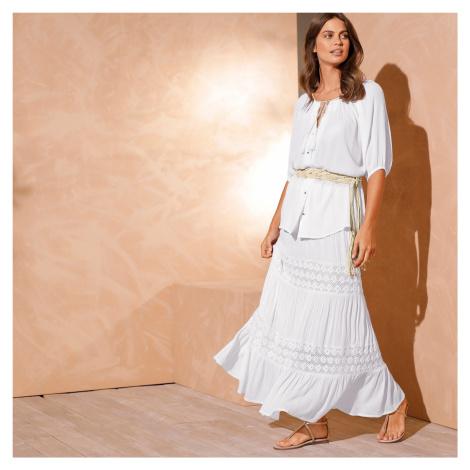 Blancheporte Dlouhá sukně s macramé bílá