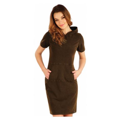 LITEX Šaty dlouhé s krátkým rukávem 5A412902 hnědočerná