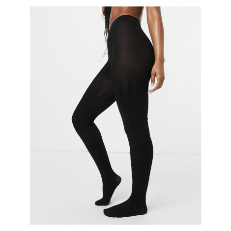 Lindex eco viscose cable knit tights in black