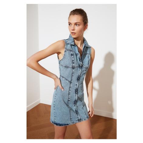 Trendyol Mini Denim Dress with Zipper with Blue Stitch DetailING
