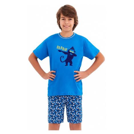 Taro Chlapecké pyžamo Damián modré opice