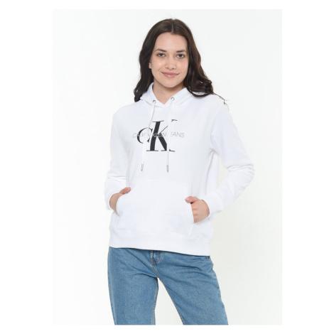 Calvin Klein Calvin Klein dámská bílá mikina s kapucí MONOGRAM RELAXED HOODIE